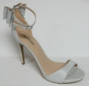 ZIGI SOHO REMI SILVER SPARKLE STILETTO HEELS PARTY PROM HOMECOMING SANDALS SHOES