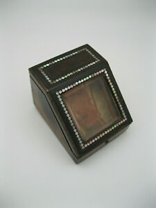 Beautiful 19th Century Wood Pocket Watch Display Box / Case w Mother of Pearl