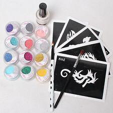 5 Pcs Stencils & 12color Glitter Powder Glue Brushes Temporary Tattoo Kits