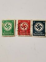 WW2 German RARE Nazi Swastika Stamps Multi Colors Lot