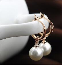 18K Rose Gold GP Lovely Dangle Droplets Small Hoop Jewelry Ear Earrings FB572