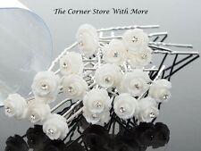 30 x White Floral Hairpins for Deb Weddding Debutante Womens Hair Accessories
