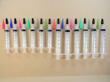 12 Luer Lock 10cc & 5cc Syringe & Plastic Tapered Tip Assortment with Caps