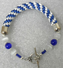 """Kumihimo bracelet 10mm wide, with beads - blue + white 7.5"""""""