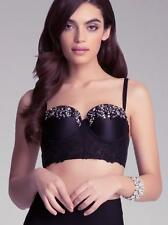 BEBE BLACK JOSSELYN BEADED BRA BUSTIER TOP NEW NWT XSMALL XS