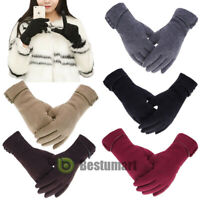 Winter Warm Thick Soft Cashmere Touch Screen Fleece Gloves For Women Ladies 2018