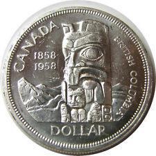 elf Canada 1 Dollar 1958  Totem Pole Silver Elizabeth II