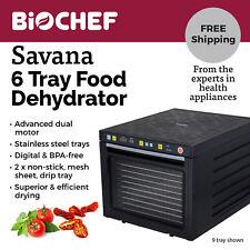 BioChef Savana Food Dehydrator - 6 S/Steel trays best beef jerky, fruit - Black