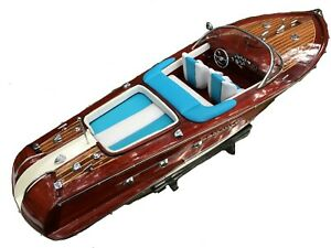 """Riva Aquarama Speed Model Ship Boat Wood Wooden Italian Nautica Handmade 21"""""""