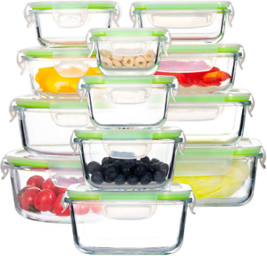 Glass Food Storage Containers with Lids, [24 Piece] Airtight Glass Storage Conta