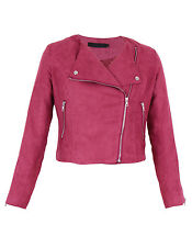 Women Faux Suede Biker Jacket Classic Style Side Zip Coat Black Tan 6-14 UK Berry 14