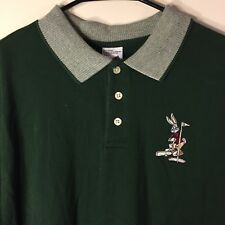 Warner Bros Studio Store Embroidered Bugs Bunny Golf Polo Shirt Men's WB M Green