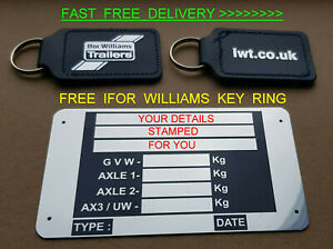 STAMPED! FREE IFOR WILLIAMS KEY RING TRAILER VIN PLATE CAR HORSE BOX RAMP TIPPER