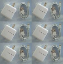 LOT of SIX -- 12 Watt 2.4 AMP Wall Charger for iPad 1/2/3  and sync CABLE
