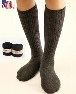 6 Pairs Mens 100% Merino Wool Crew Socks Gentleman Dress Solid Thick Mid Calf