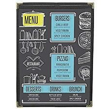 Menu Covers 25 Black Single Panel 2-View 11X17 Double-Stitched Leatherette