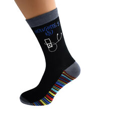 Noughties Kid MP3 Player Design Novelty Mens Socks Size 5-12 - X6S223-006