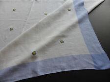 NAPPE ANCIENNE en LIN BLANC à LITEAUX BLEU BRODE de POIS BLEU & JAUNE-150x188cm