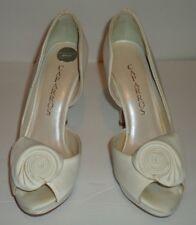 CAPARROS FFSBALDWIN Ivory Silk Platform Pumps PeepToe Highheel Shoes Size 6.5M