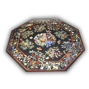 Black Marble Dining Table Top Precious Marquetry Fruits & Floral Inlay Deco B424