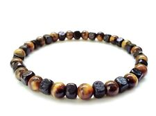 men bracelet stretch wristband beaded Tiger's Eye stone wood beads surfer gift