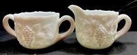 Vintage Westmoreland Milk Glass Leaf and Grapes Sugar Bowl Creamer Set