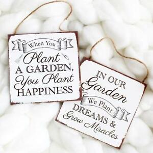 In Our Garden We Plant Dreams & Grow Miracles Wood Square Plaque Sign Home Decor