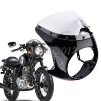 "Gloss Black 7"" Headlight Fairing Retro Cafe Racer Handlebar & Screen Windshield"