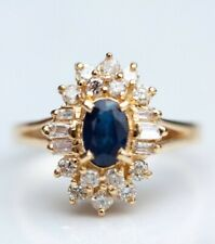 Vintage Oval Cut Blue Sapphire And Diamond Ring  Engagement Ring