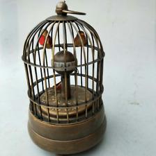 Works Vintage Vividly Brass Birdcage Machine Clock With Cute Bird
