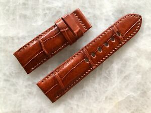 24mm/22mm Genuine Alligator Crocodile Leather Watch Strap Band -Red Brown Color