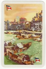 Playing Cards 1 Swap Card Old Vintage GLEN LINE Shipping SINGAPORE Junk Boats 2