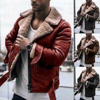 Mens Thick Faux Leather Jacket Lapel Collar Zipper Fur Lined Outwear Parka Coat