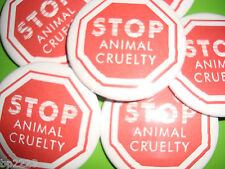 """STOP ANIMAL CRUELTY, DOG CAT BUTTON Badge 2-1/4"""" Cute, w/Pinback, No Testing,NEW"""