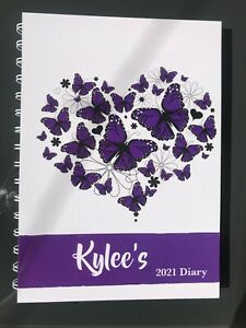 2021 diary purple butterfly heart personalised with your name A5