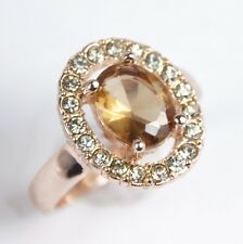 Women's 18 Carat Rose Gold Plated Champagne Zircon Ring UK Size R Jewellery