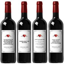 Funny Wine Labels for Nurses - Great Gift for Graduation - Includes All 4 Labels