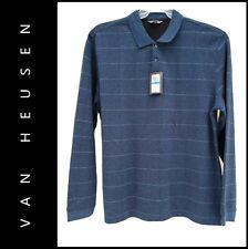 Van Heusen Men Career Formal Flex Henley Pinstripe Polo Shirt Size XL Blue
