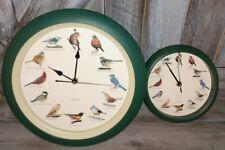 Vintage 2 Singing Chirping Bird Wall Clock Quartz Tested Everything Works chirps