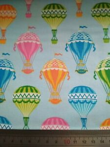 100% Cotton Woven Fabric - Blue Hot Air Balloons  - Material Crafts Sewing Kids