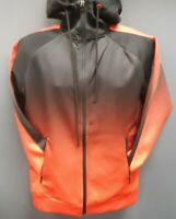 Men's Rebel Minds Gradation-Colored Front Full Zip Hoodie - Black/Orange