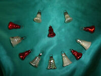 ~ 12 antike Christbaumkugeln Glas Glocken rot silber alter Federbaumschmuck CBS