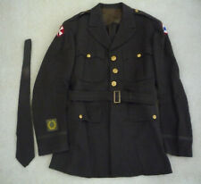 VTG Army Military Officer Uniform Dress Coat WW2 Era w/Military Patches & Tie