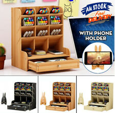 Wooden Office Desk Organizer Desktop Pen Storage Container Box & Phone Holder