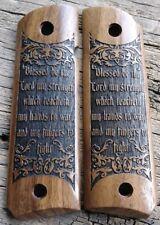 1911 Grips Psalm 144:1 Bible Verse Walnut Fits Colt Kimber Rock Island