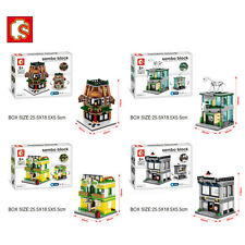 Mini Street View Building Block Have Light Museum Bar Apartment Express 4PCS/Set