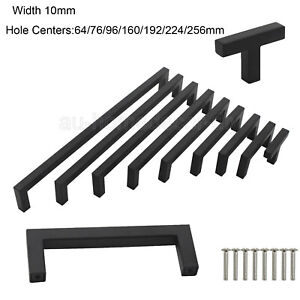 Stainless Steel Kitchen Cabinet Door Black Handles T Bar Drawer Pull Knobs Lot