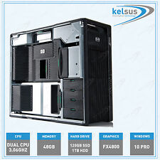 HP Z800 Workstation PC DUAL Xeon CPU 8 Core 48GB RAM SSD HDD Windows 10 Pro WiFi