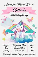 Personalised Unicorn Rainbow Birthday Party Invitation – You Print