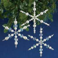 Holiday Beaded Ornament Kit Sparkling Snowflakes Makes 3 845227047366